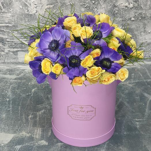 Волшебная коробка с анемонами: букеты цветов на заказ Flowwow