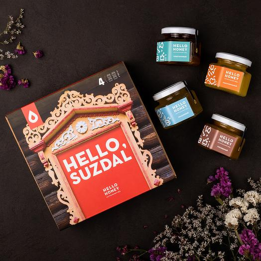 Подарочный набор мёда «Hello, Suzdal» оранжевый, 4 банки: букеты цветов на заказ Flowwow