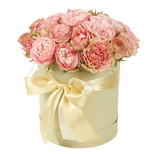 """Кустовые розы мини коробке """"Мисс Бомбастик"""": букеты цветов на заказ Flowwow"""