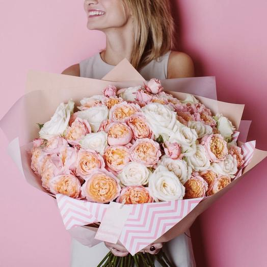 Микс  из двух видов роз: букеты цветов на заказ Flowwow