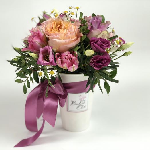 Стаканчик Розовый: букеты цветов на заказ Flowwow