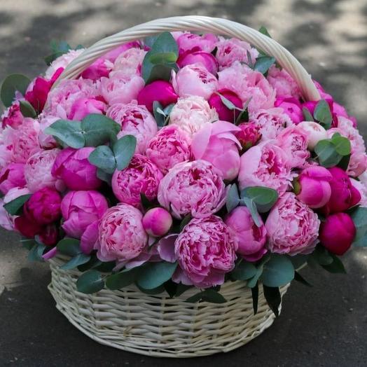 Шикарная корзина из 101 пиона: букеты цветов на заказ Flowwow