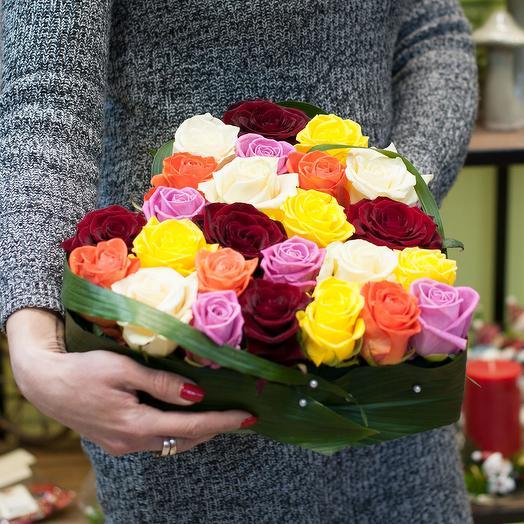 Композиция сердце из роз (25 роз): букеты цветов на заказ Flowwow