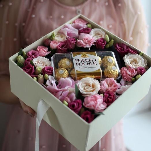 Коробка с конфетами: букеты цветов на заказ Flowwow