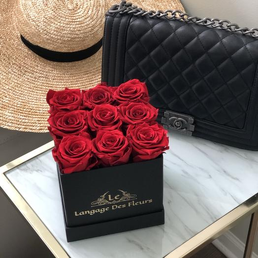 Small black square box with red roses is Eternal: flowers to order Flowwow
