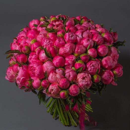 """Букет """"101 Коралловый Пион"""": букеты цветов на заказ Flowwow"""