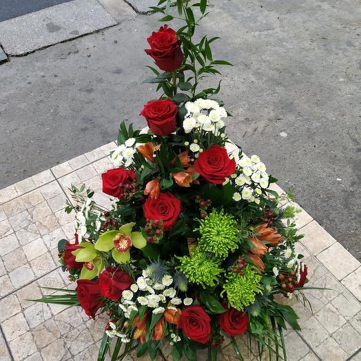 "Эксклюзивная осенняя корзина ""Люблю тебя"": букеты цветов на заказ Flowwow"