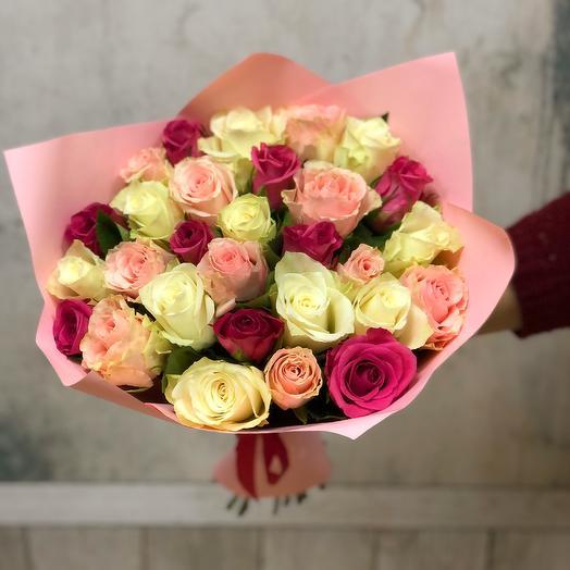 Букет светло-розовый микс 29 роз: букеты цветов на заказ Flowwow