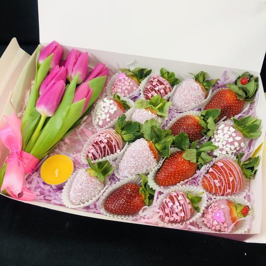 Клубника коробка III: букеты цветов на заказ Flowwow