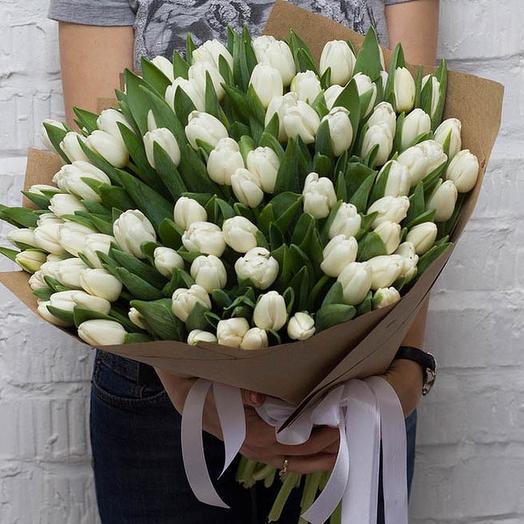 101 белоснежный тюльпан