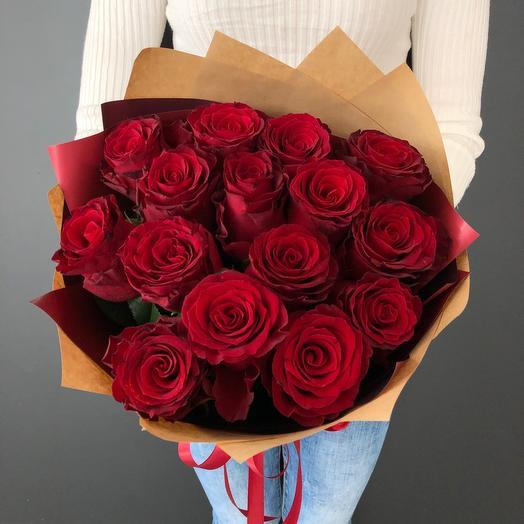 Lady Flowers - 15 бордовых роз в оформлении