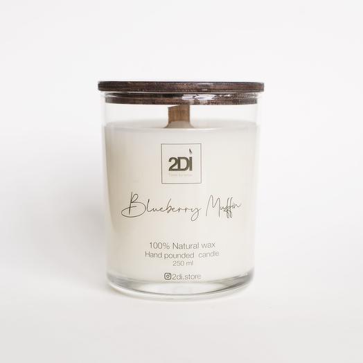 Натуральная аромасвеча ручной работы 250 мл, хлопковый фитиль - Blueberry Muffin, Черничный кекс