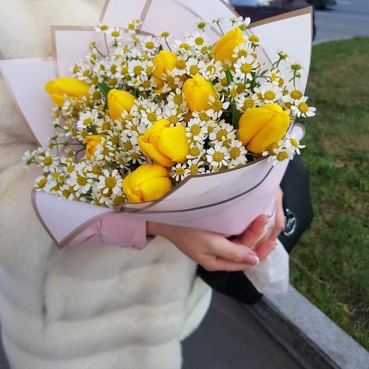 Тюльпаны с ромашкой