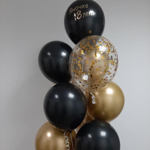 Гелиевые шары, золото и чёрные