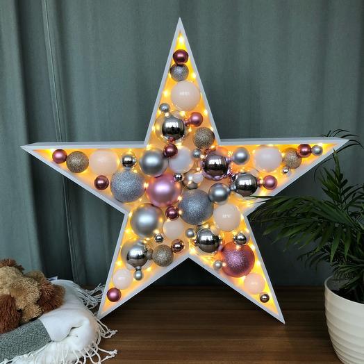 Новогодняя звезда ⭐️ розовый серебряный белый