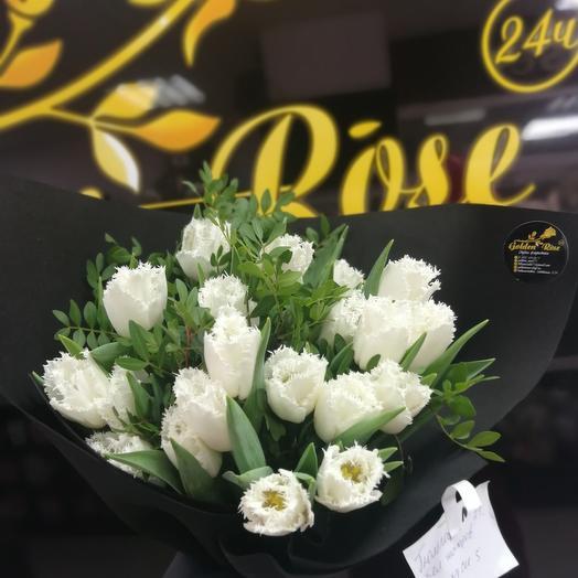 """Монобукет из тюльпанов """"беляшик"""""""