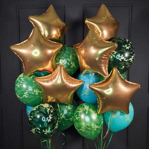 Камуфляжные шары с золотыми звездами