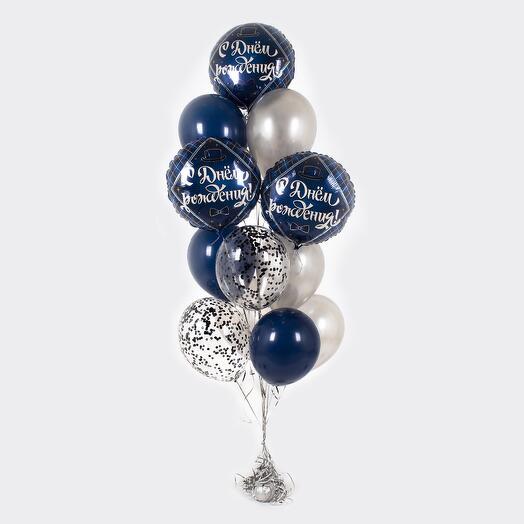 """Букет шаров """"С Днем рождения!"""" для него"""
