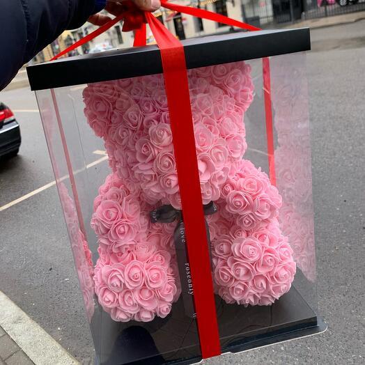 Мишка из роз 45 см розовый