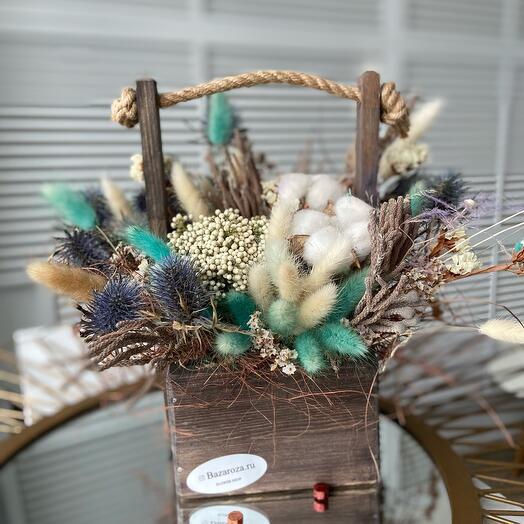Ящик деревянный с сухоцветами Бергман