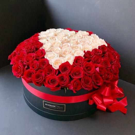 Коробка на 101 розу с сердцем