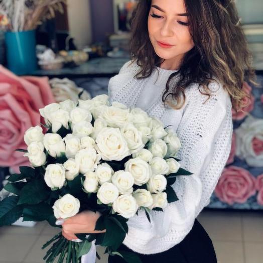 Букет из 45 белых роз 50 см: букеты цветов на заказ Flowwow