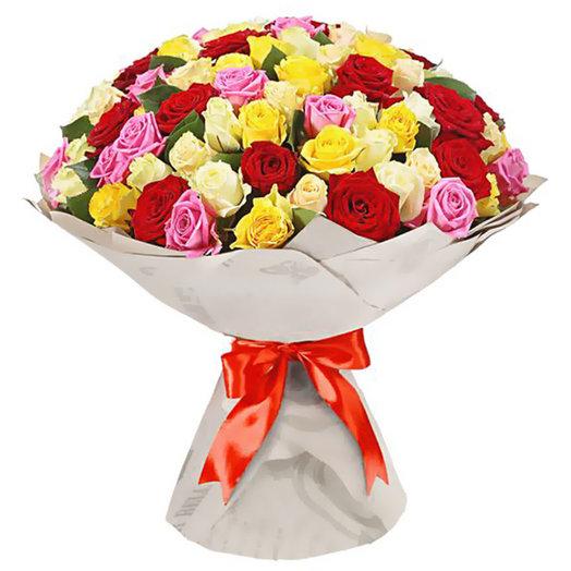 Букет из 101 розы Яркие чувства: букеты цветов на заказ Flowwow