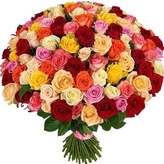Роскошный микс 101 роза: букеты цветов на заказ Flowwow