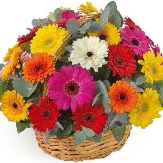 35 гербер в корзине: букеты цветов на заказ Flowwow