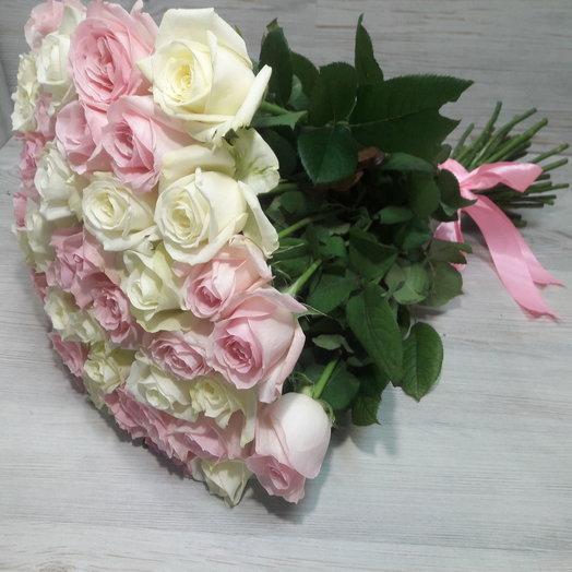 Букет 51 Бело-розовый Эквадор: букеты цветов на заказ Flowwow