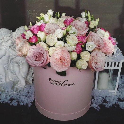 Коробка гигант с миксом розовой нежнотси: букеты цветов на заказ Flowwow
