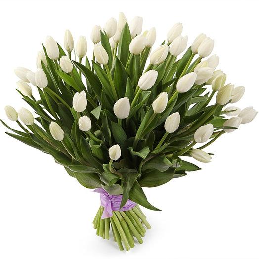 49 белый тюльпан: букеты цветов на заказ Flowwow