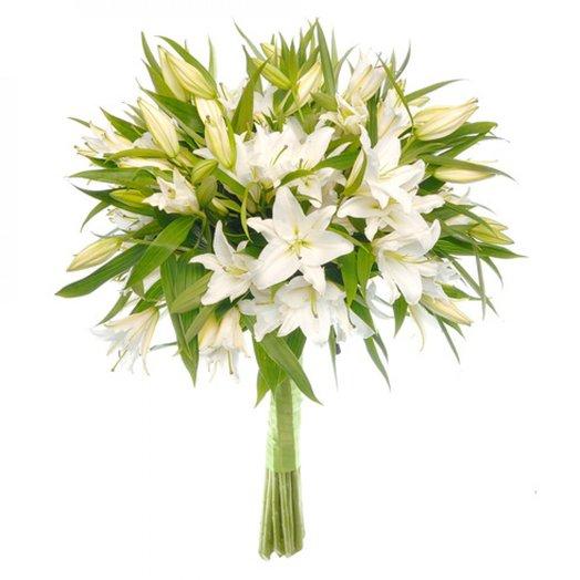 Лилия крупная белая 70см 9шт: букеты цветов на заказ Flowwow