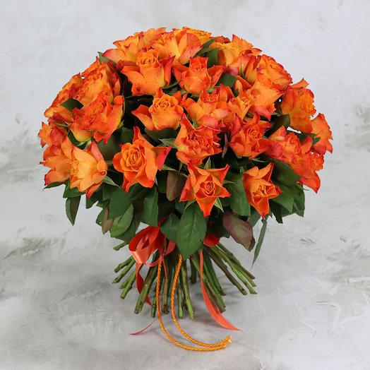 Букет из 51 оранжевой розы 40 см: букеты цветов на заказ Flowwow