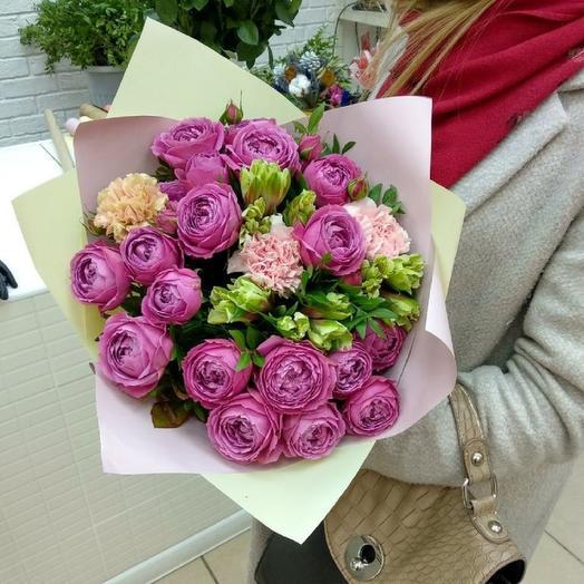 """Воздушный букет пионовидных роз """"Вивальди"""": букеты цветов на заказ Flowwow"""
