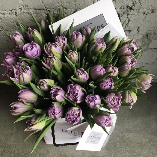 Лиловые пионовидные Тюльпаны /49шт: букеты цветов на заказ Flowwow