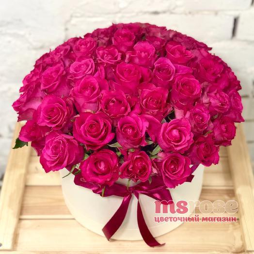 51 малиновая роза в шляпной коробке