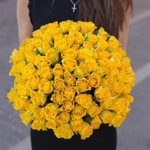 """Букет """"101 Желтая роза"""": букеты цветов на заказ Flowwow"""