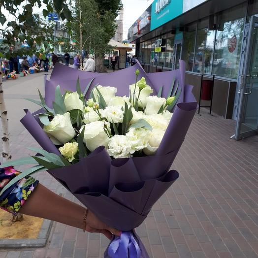 Стильный букет с розами: букеты цветов на заказ Flowwow