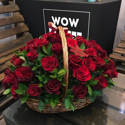 51 роза премиум в корзине: букеты цветов на заказ Flowwow