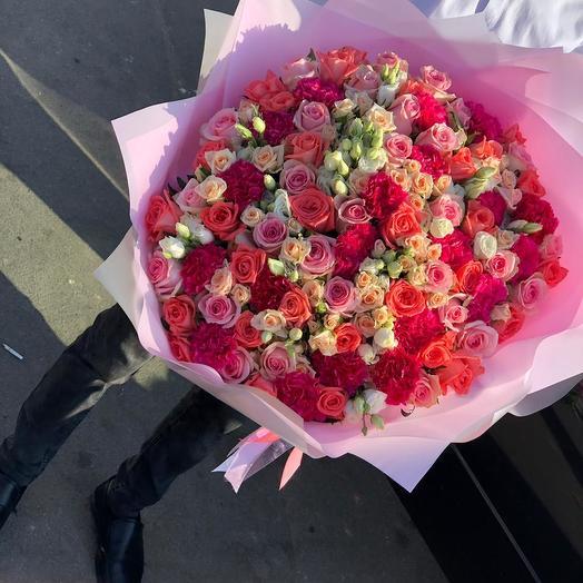 Микс из Кустовых роз 75 шт: букеты цветов на заказ Flowwow