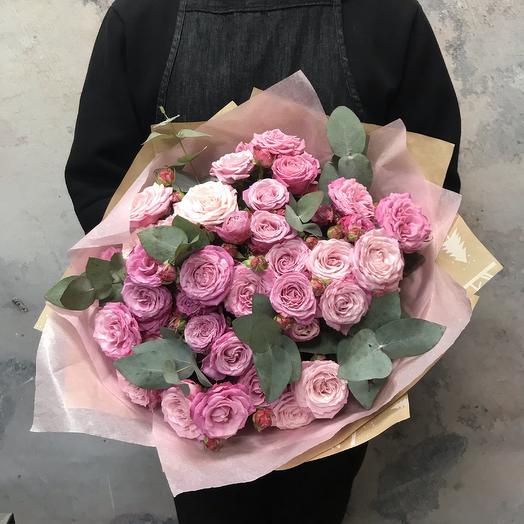 Пионовидная Роза и эвкалипт