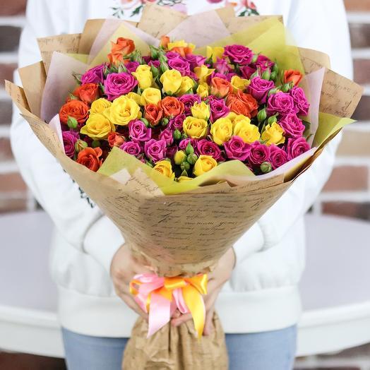 Букет из 25 веточек кустовой розы (микс). N726