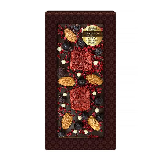 Шоколад темный с украшением Миндаль, смородина, малина