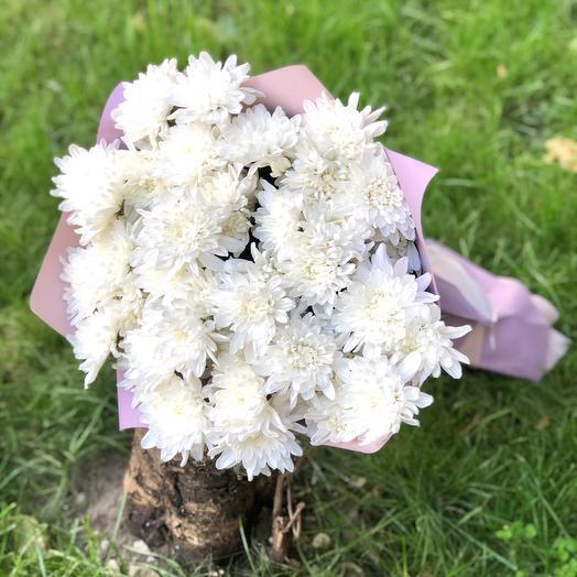 Букет белых кустовых хризантем «Балтика»