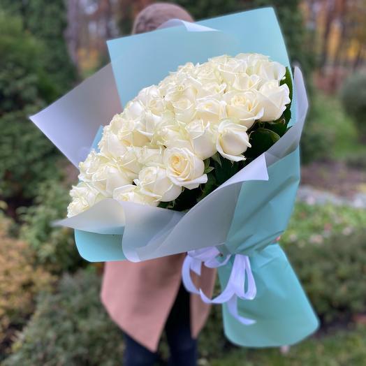 Букет белых роз (51 шт)
