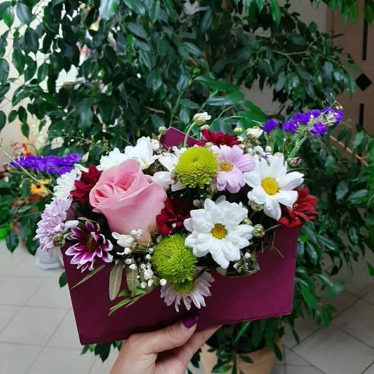 """Цветы в коробке """"конверт"""""""