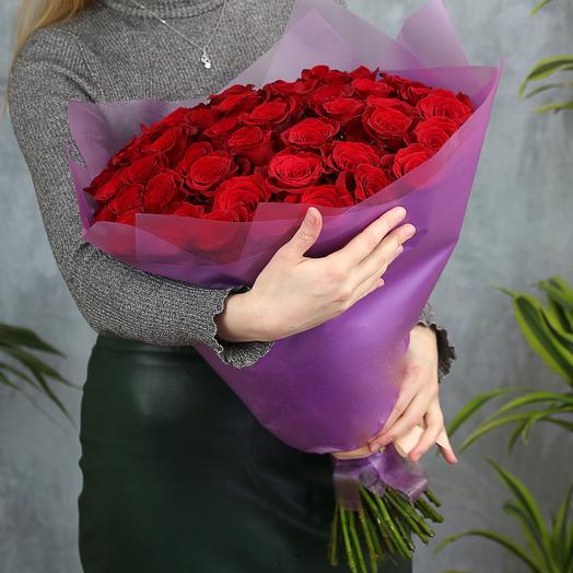 Букет из 51 красной розы Эквадор (50 см)