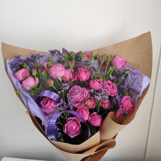 Кустовые розы Мисти в крафте