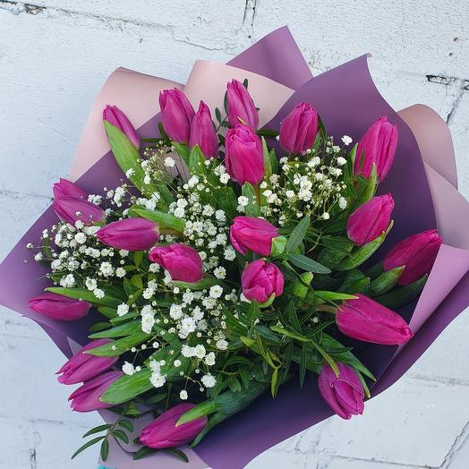 """Букет фиолетовых тюльпанов """"Восторг"""""""